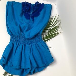 YFB linen strapless ruffle front romper